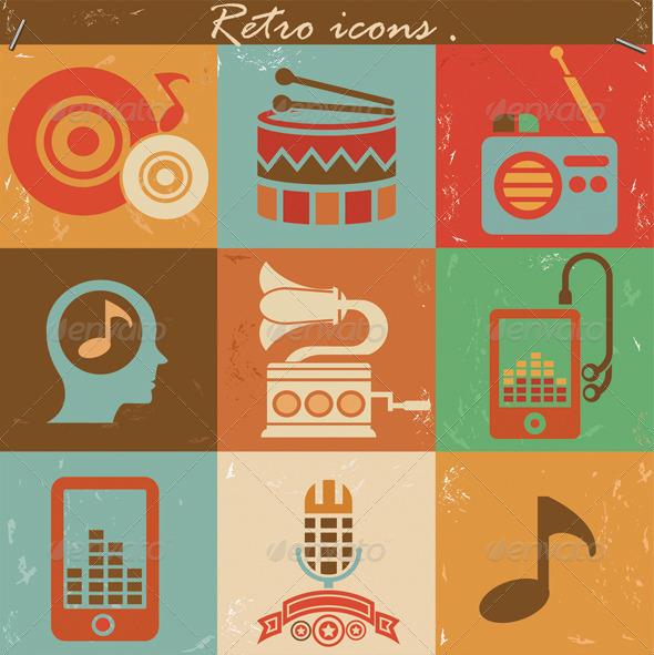 GraphicRiver Retro music icons 5701094