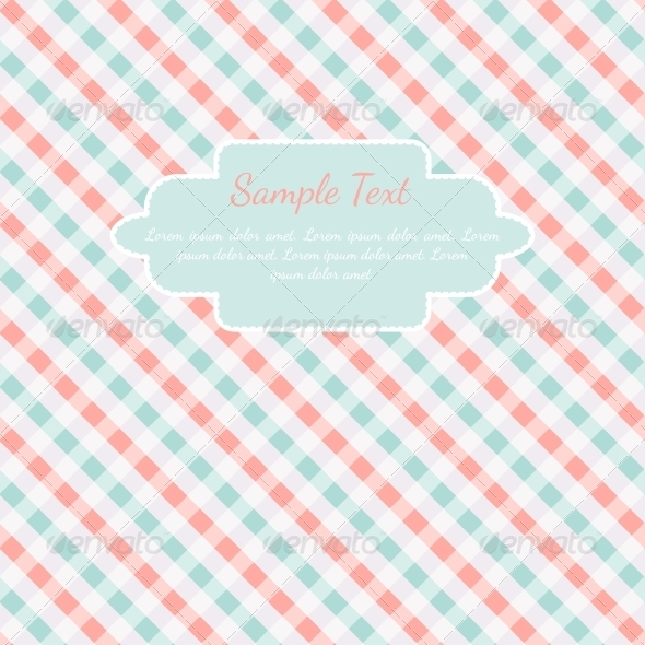 GraphicRiver Checkered Coral and Turquoise Card Template 5701141