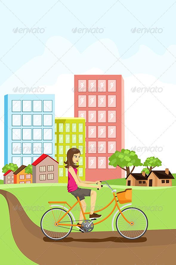 GraphicRiver Woman Riding a Bike 5701912