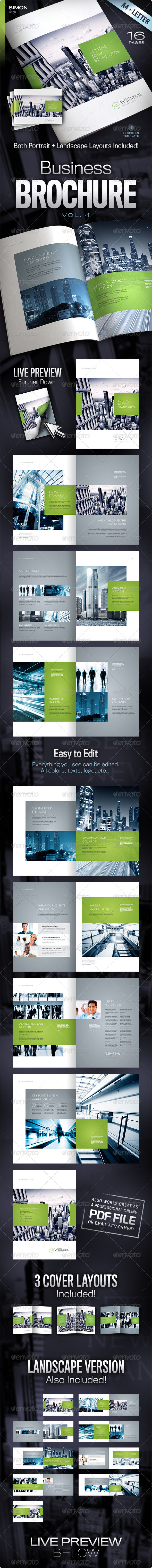 Corporate Business Brochure 16 pages A4 & Letter