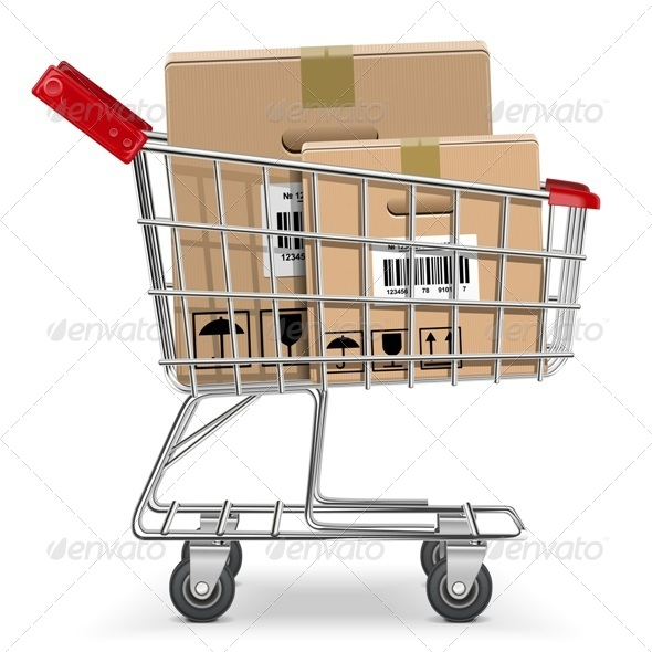 GraphicRiver Vector Supermarket Cart with Box 5702849