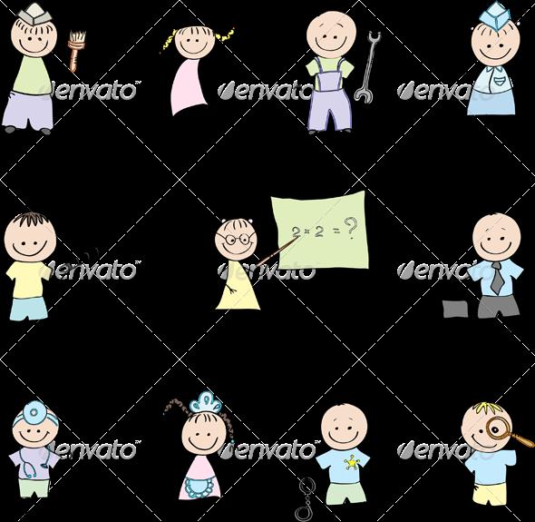 GraphicRiver Children and the Profession in Color 5703242