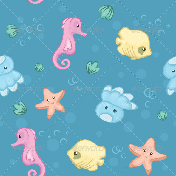 GraphicRiver Seamless Pattern of Underwater Creatures 5703825
