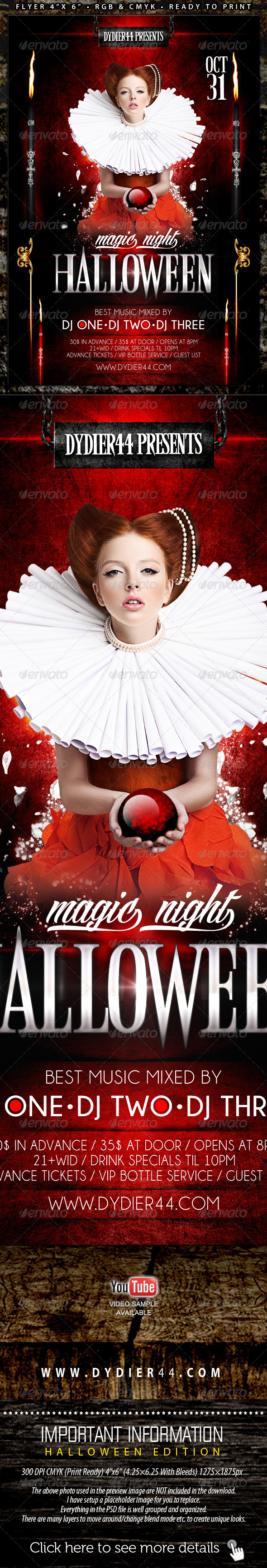GraphicRiver Magic Night Halloween Flyer Template 4x6 5625331