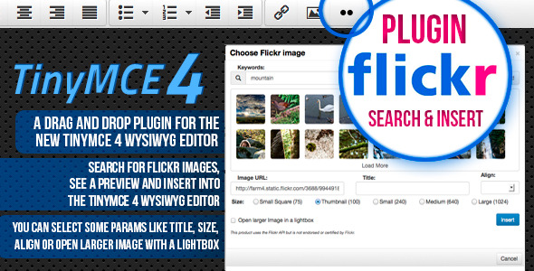 CodeCanyon TinyMCE 4 plugin Flickr image search and place 5703888