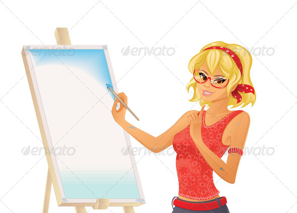 GraphicRiver Girl Painting 5704054