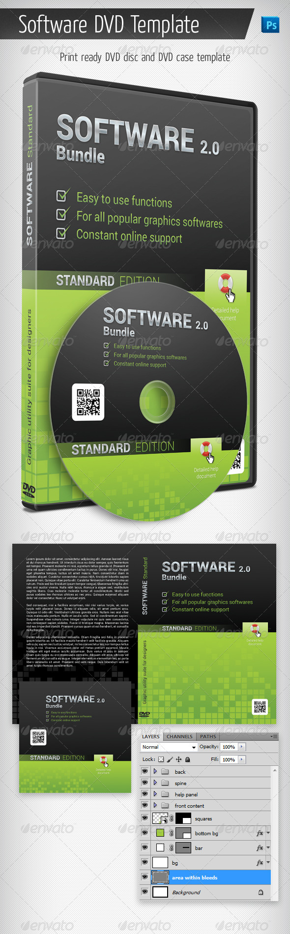 Software DVD Template - CD & DVD Artwork Print Templates