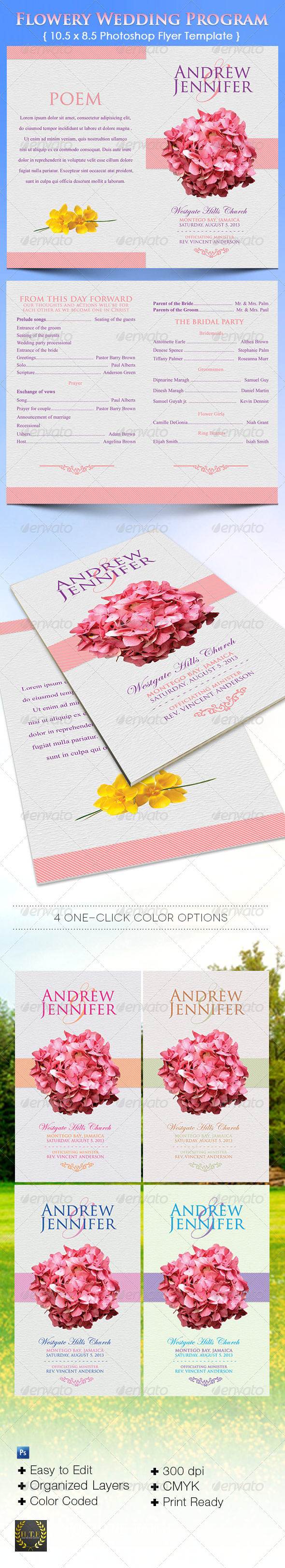 GraphicRiver Flowery Wedding Program 5616311