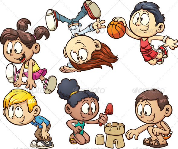 GraphicRiver Cartoon Kids Playing 5704552