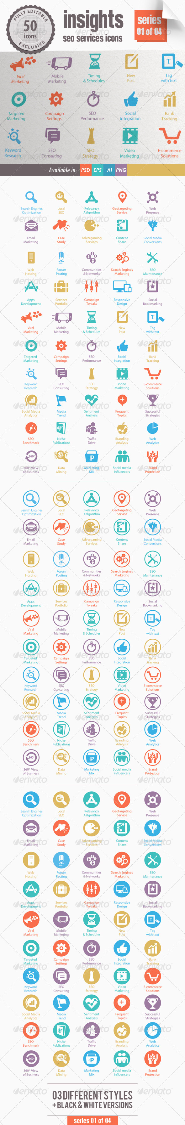 Insights SEO Services Icons - Series 01 of 04 - Web Icons
