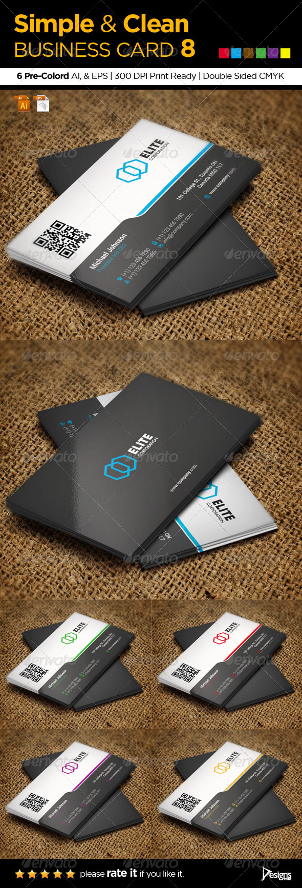 Simple and Clean Business Card 8 - Business Cards Print Templates
