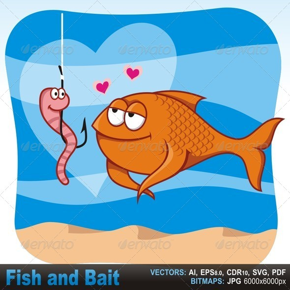 GraphicRiver Fish and Bait in Love 5704738
