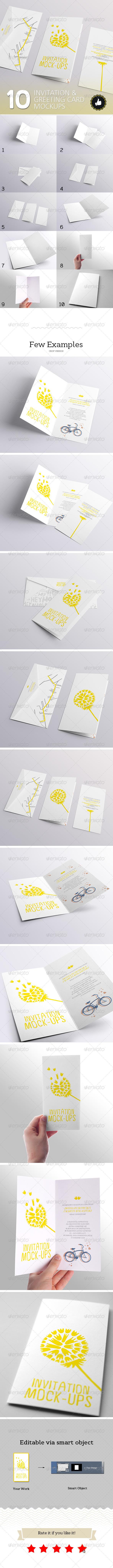 GraphicRiver 10 Invitation & Greeting Card Mockups 5705108