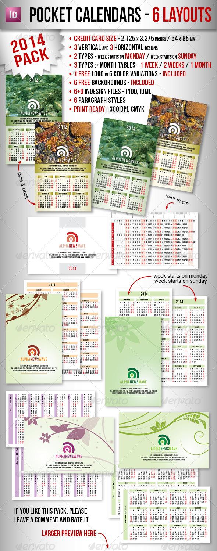 Pocket Calendar Design : Pocket calendar pack of designs graphicriver