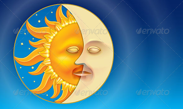 GraphicRiver Sun and Moon like Day and Night in a Circle 5705901