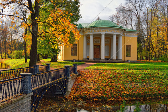 "Landscape with ""Concert Hall"" pavilion in Pushkin. - Stock Photo - Images"