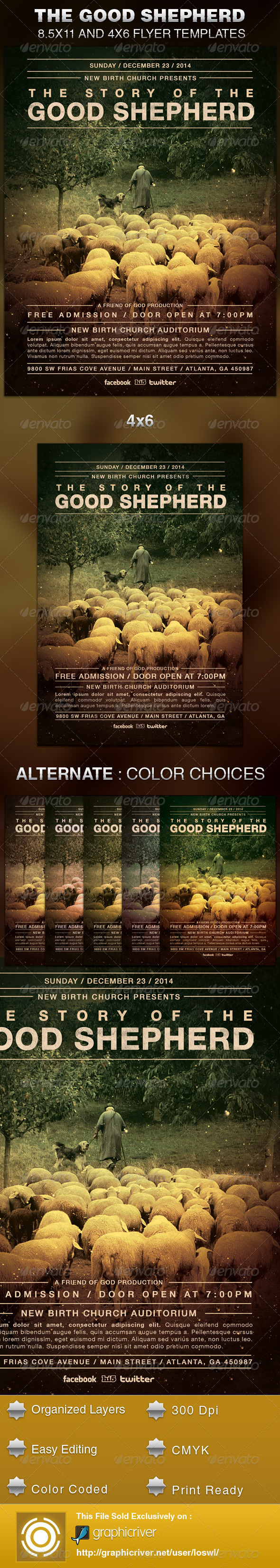 GraphicRiver The Good Shepherd Church Flyer Template 5706676