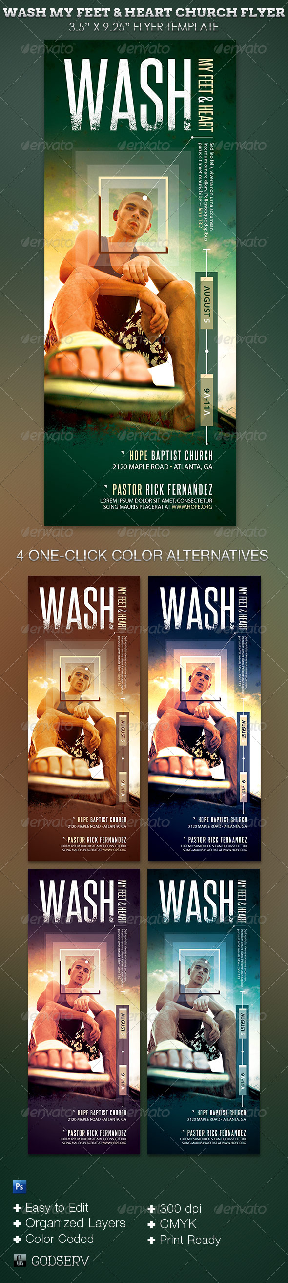 Wash My Feet and Heart Church Flyer Template - Church Flyers