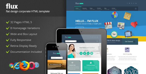 Flux - Flat Corporate HTML Template 2 - Corporate Site Templates