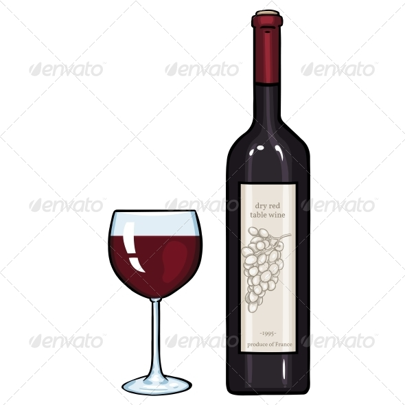 GraphicRiver Glass and Bottle of Red Wine 5707171