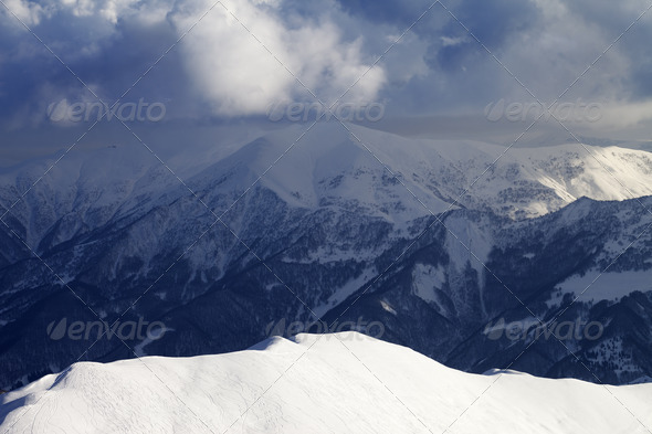 Top view on sunlit off-piste slope - Stock Photo - Images