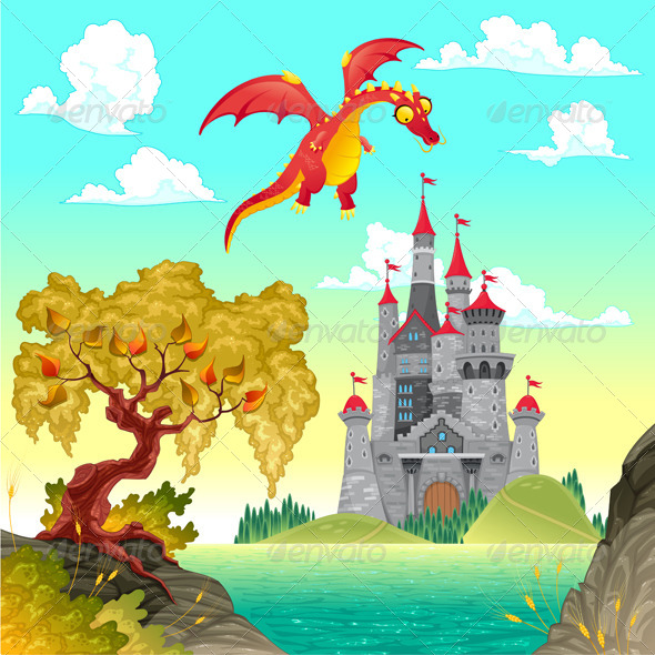 GraphicRiver Fantasy Landscape with Castle and Dragon 5708749