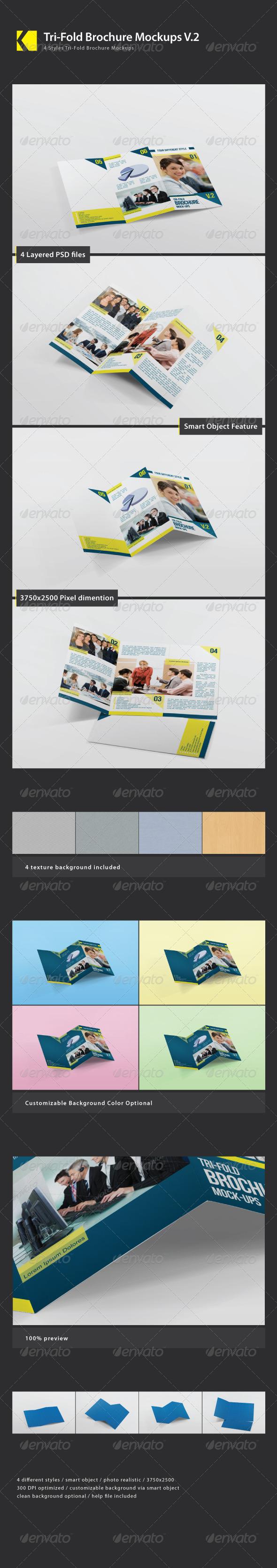 Tri-Fold Brochure Mockups Vol 02 - Product Mock-Ups Graphics