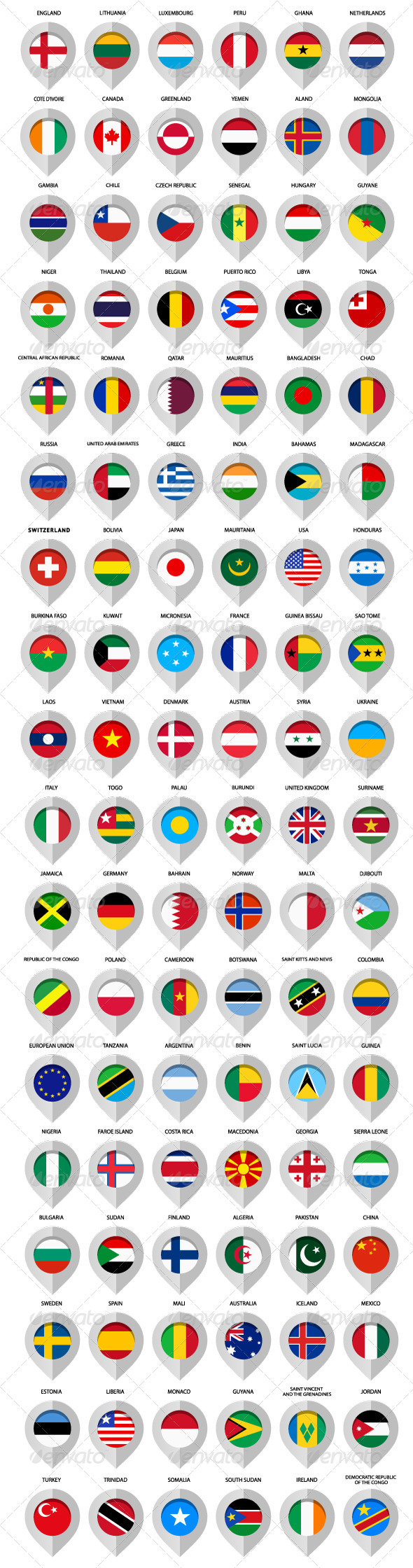 GraphicRiver 108 pins with flags to map 5709145