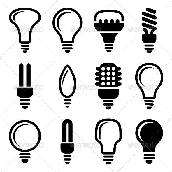 GraphicRiver Light Bulbs Bulb Icon Set 5709579