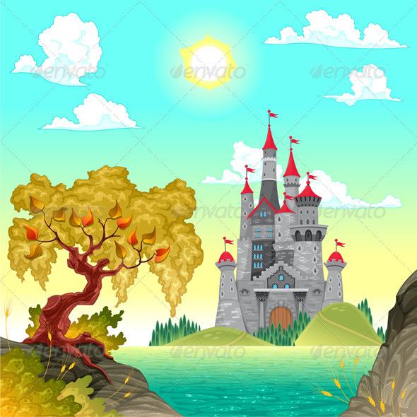 GraphicRiver Fantasy Landscape with Castle 5709674