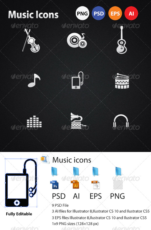 GraphicRiver Music icons 5674299
