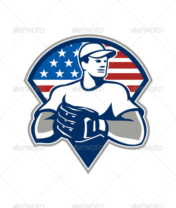 GraphicRiver American Baseball Pitcher Gloves Retro 5709846