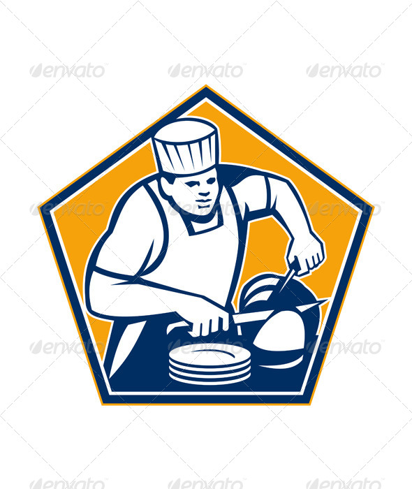 GraphicRiver Chef Cook Slicing Ham Retro 5709850