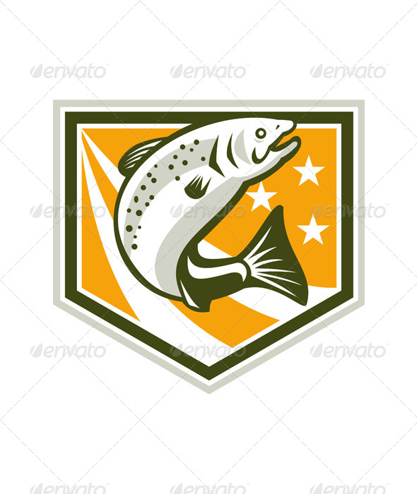 GraphicRiver Trout Jumping Retro Shield 5709960