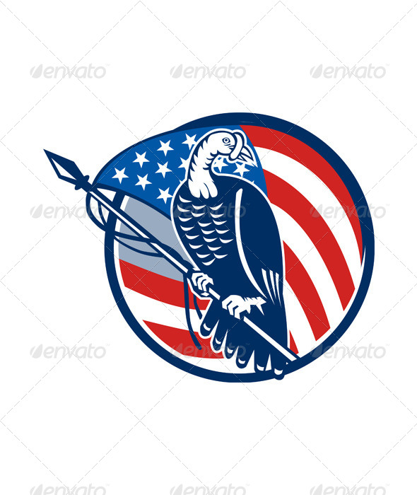 GraphicRiver Wild Turkey Perching American Flag 5709965