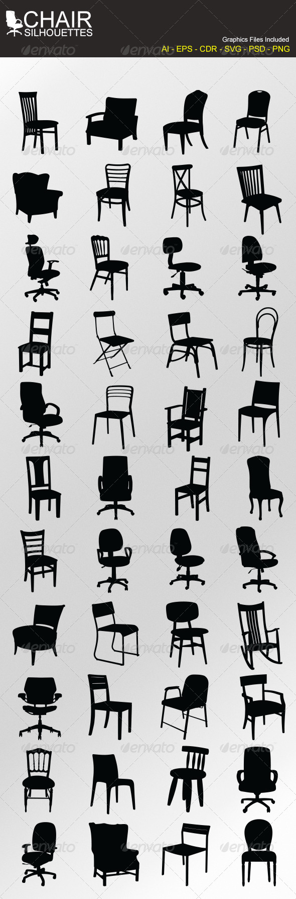 GraphicRiver Chair Silhouettes 5710028
