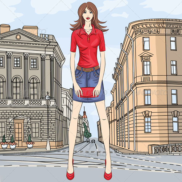GraphicRiver Vector Fashion Girl in the Street 5710106