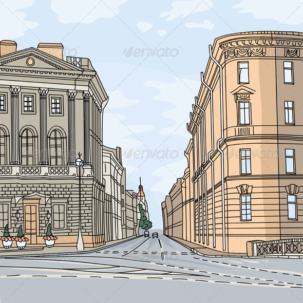 Vector Cityscape, the Wide Avenue in the City - Buildings Objects