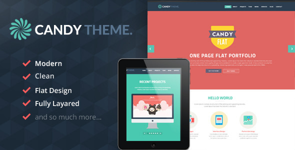 ThemeForest Candy Onepage Flat PSD 5710866