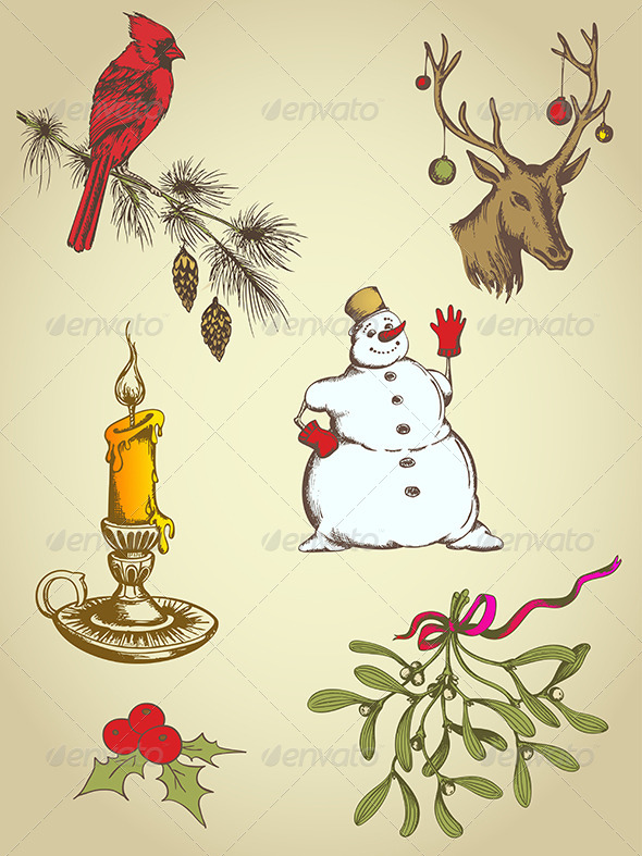 GraphicRiver Hand Drawn Christmas Elements 5710942