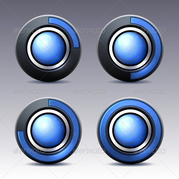 GraphicRiver Blue Button with Digital Timer Vector 5711003
