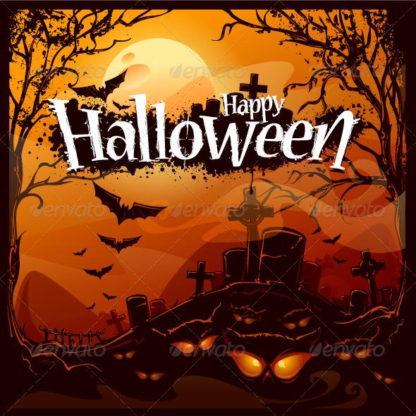 GraphicRiver Cartoon Halloween Background 5711131