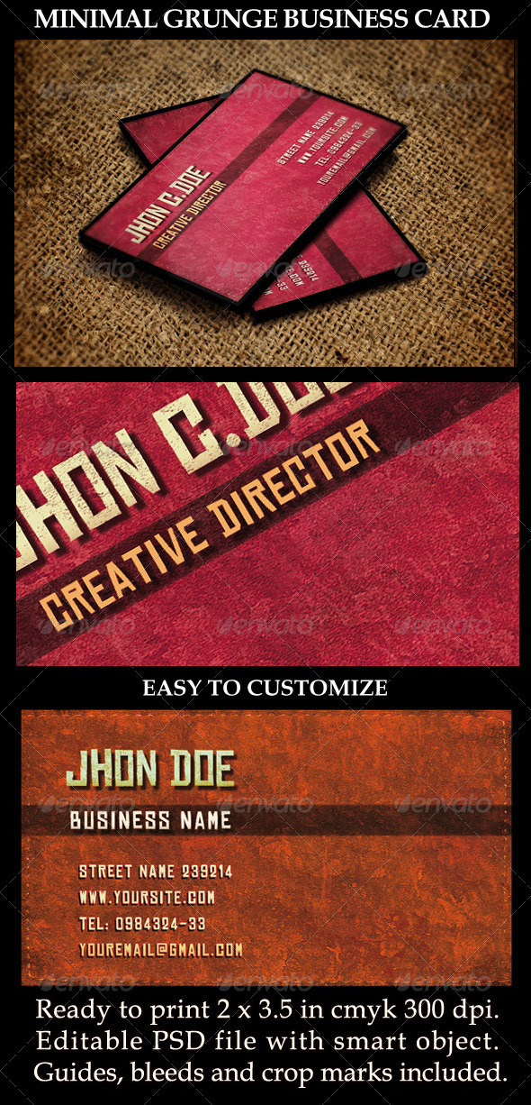 Grunge business card templates designs from graphicriver reheart Images