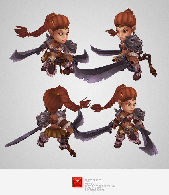 3DOcean Low Poly Mini Barbarian Girl Sonya 5711358