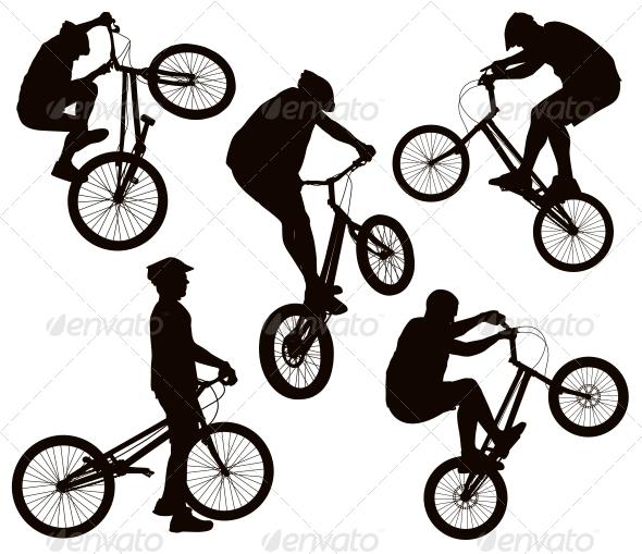 GraphicRiver Biker Silhouettes Set 5711516