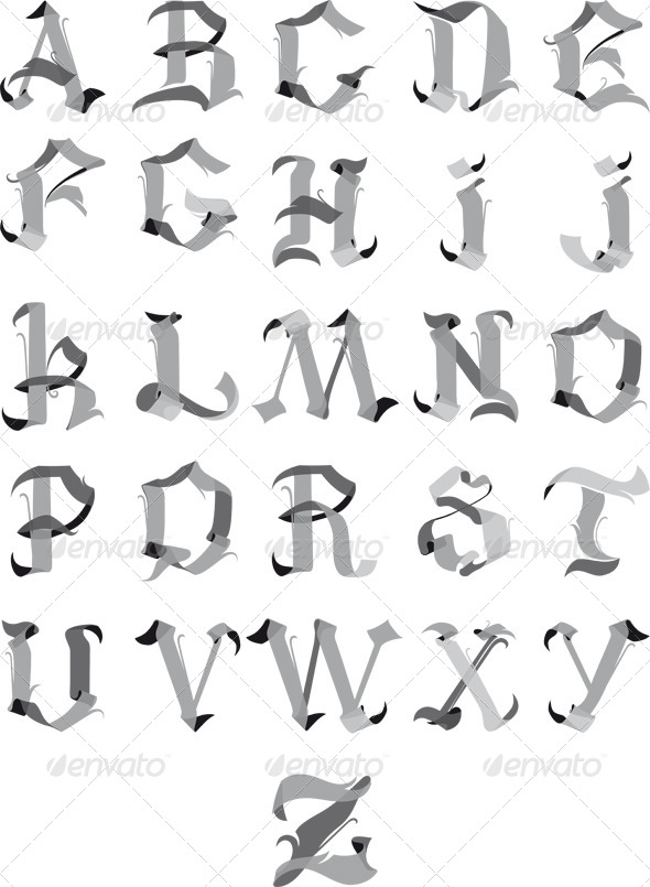 Gothic Alphabet - Decorative Vectors
