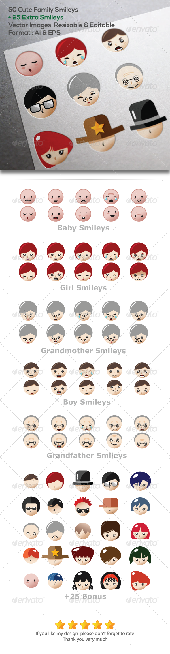 GraphicRiver 50 Family Smileys Vector Images 5711614