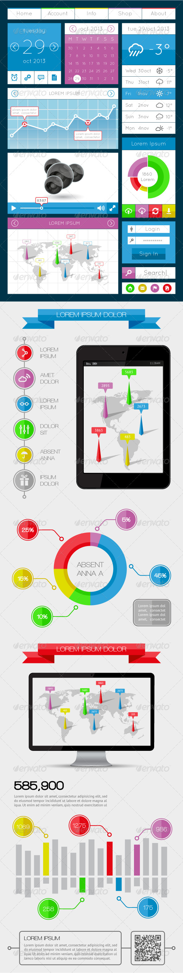 GraphicRiver UI Infographics and Web Elements 5712860