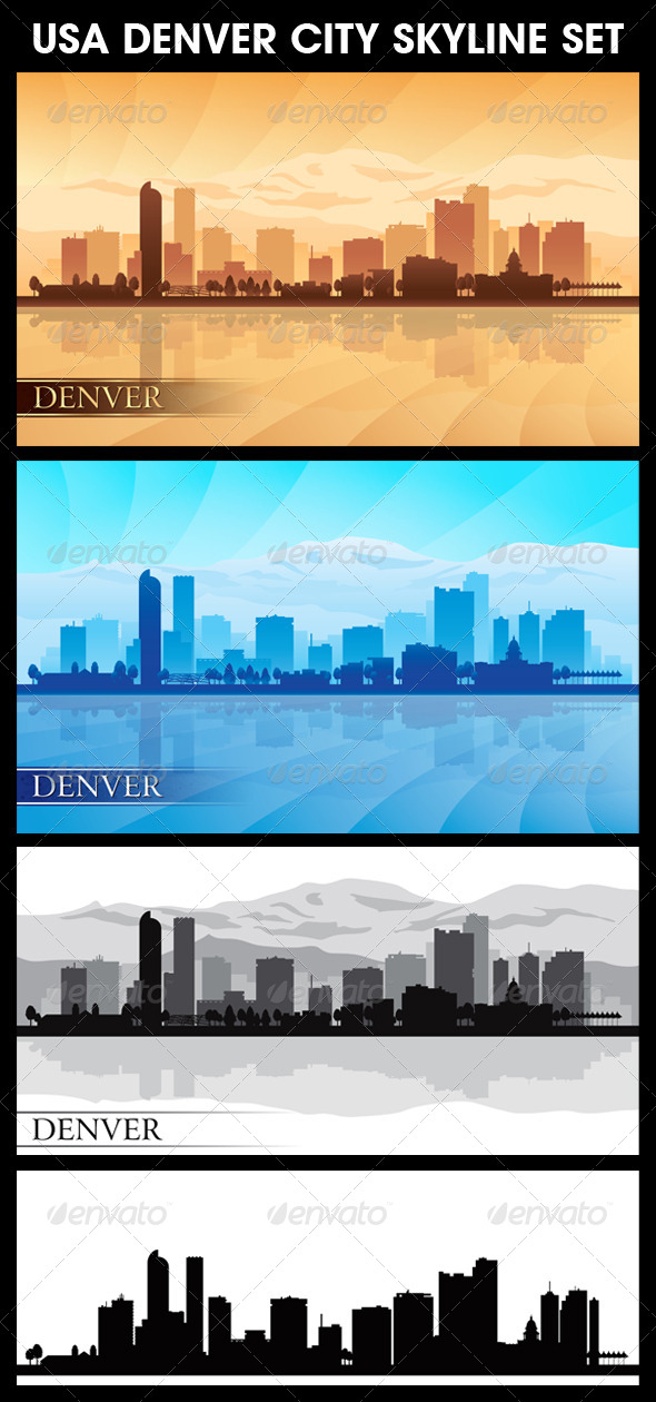 GraphicRiver Denver USA City Skyline Silhouettes Set 5713121