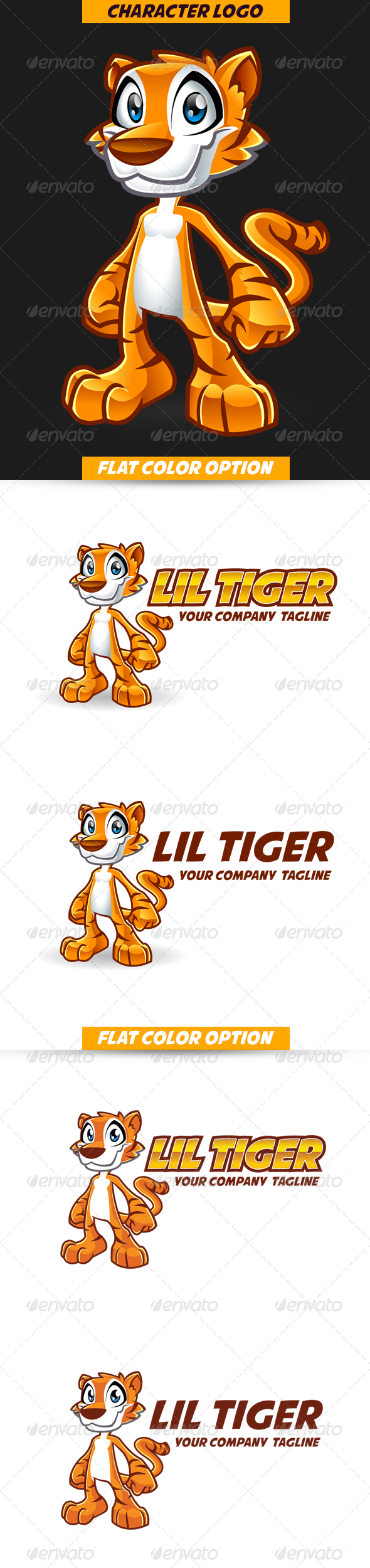 GraphicRiver Cartoon Tiger Mascot Character Logo 5713829